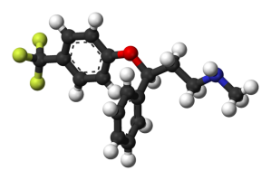 Fluoxetine (trade names Prozac or Serafem). Image from public domain.